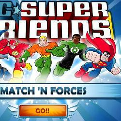 Игра DC Super Friends Match N Forces  онлайн. Играть бесплатно